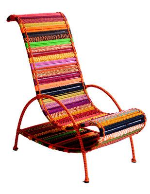 Pelican Chair - Orange Multicolor by Sahil & Sarthak, Contemporary Furniture, Fabric Katran, White color