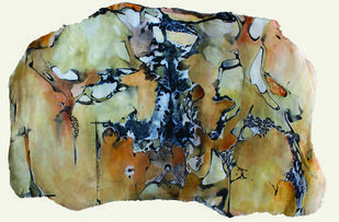 UNTITLED (SERIES 2: ALL MATERIAL THINGS MELT) by SAREENA KHEMKA, Expressionism Painting, Mixed Media on Board, Beige color