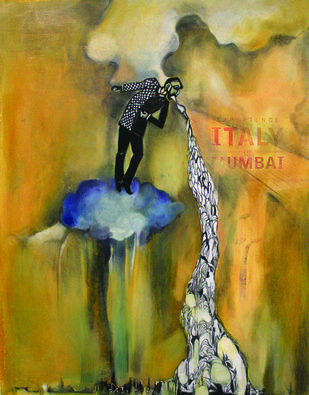 THE CLOUD TO MY SILVER LINING by SAREENA KHEMKA, Expressionism Painting, Mixed Media on Paper, Brown color