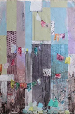 UNTITLED by AMANDA COE, Geometrical Painting, Mixed Media on Canvas, Brown color