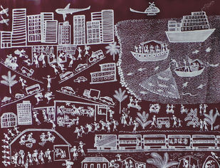 CITY by KUSUM KHARPADE, Folk Painting, Mixed Media on Canvas, Brown color