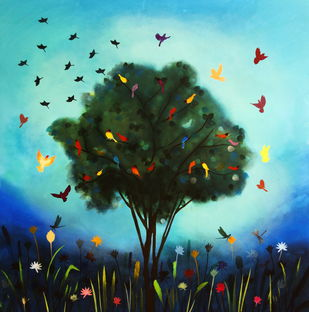 Magic tree and blue sky by Priyanka Waghela, Pop Art Painting, Acrylic on Canvas, Green color