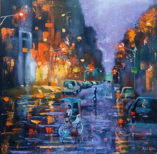 Rainy day # 2 by Arjun Das, Impressionism Painting, Acrylic on Canvas, Blue color