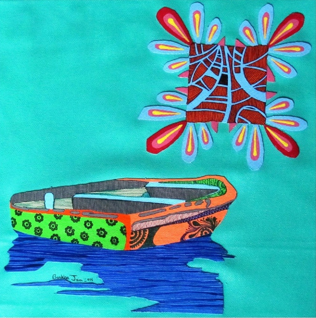 Nature Boat Series 23 by Barkha jain, Expressionism Painting, Mixed Media on Canvas, Cyan color