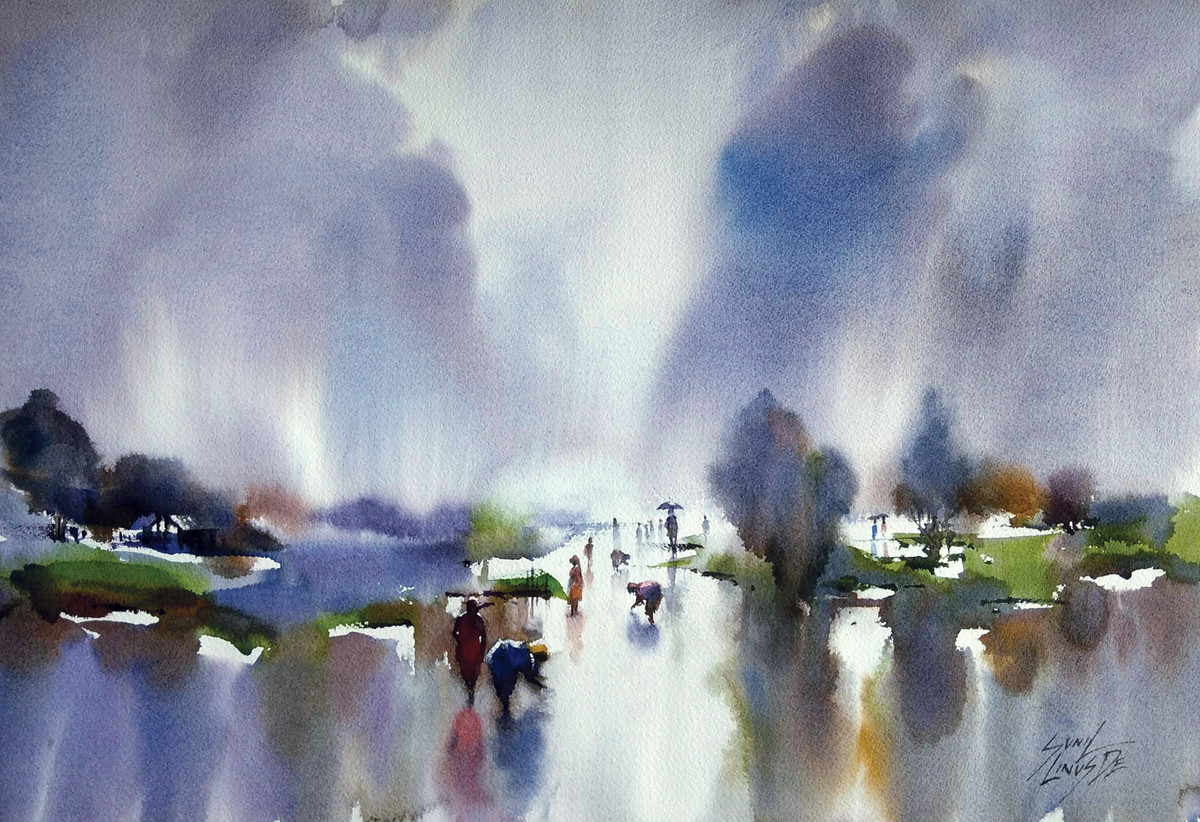 Rainy Day by Sunil Linus De, Impressionism Painting, Watercolor on Board, Gray color