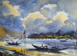 End of the Day by Sunil Linus De, Impressionism Painting, Watercolor on Paper, Gray color