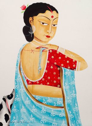 Bibi in saree - Bengali style by Bhaskar Chitrakar, Traditional Painting, Natural colours on paper, Beige color
