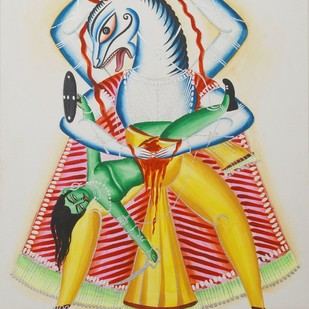 Nrsingha by Bhaskar Chitrakar, Traditional Painting, Natural colours on paper, Gray color