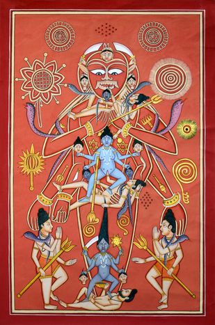 Depicting Erotic Tantric by Unknown Artist, Traditional Painting, Acrylic on Canvas, Brown color