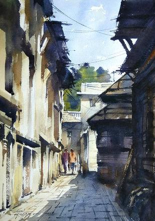 Corridor by Sunil Linus De, Impressionism Painting, Watercolor on Paper, Blue color