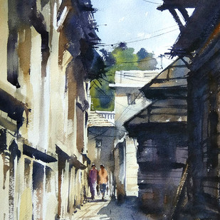 Corridor by Sunil Linus De, Impressionism Painting, Watercolor on Paper, Blue color