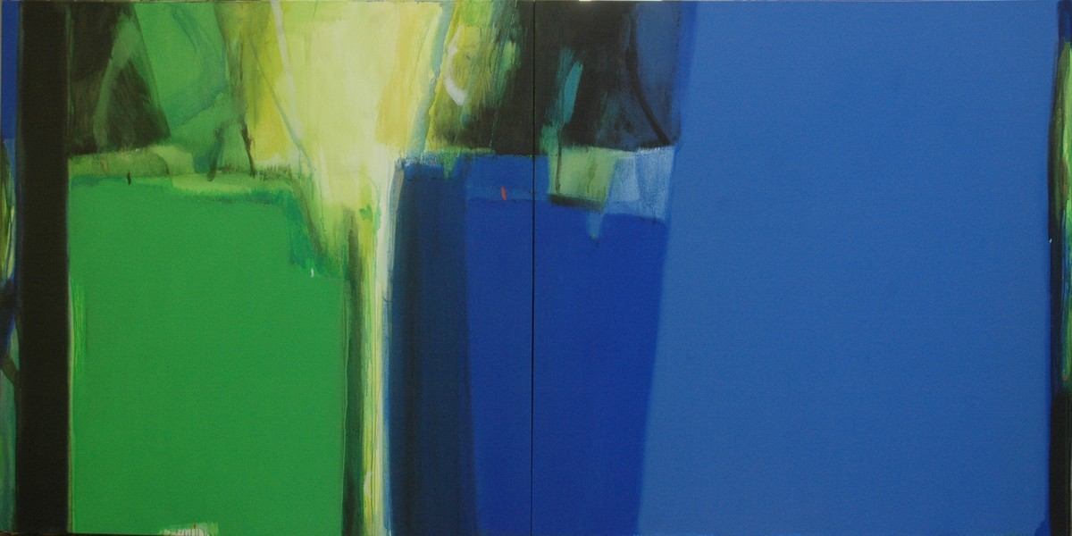An Unknown Territory-34(Diptych) by Anil Gaikwad, Abstract Painting, Acrylic on Canvas, Blue color