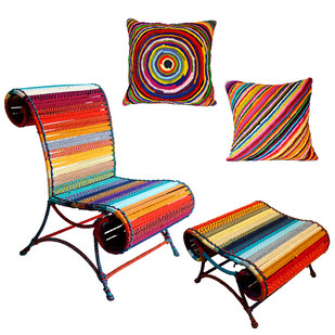 Athena Chair & Pouf with cushion set In Calfornia Sunset Furniture By Sahil & Sarthak
