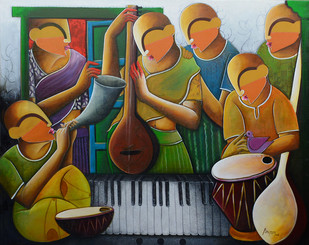 musical band by anupam pal, Decorative Painting, Acrylic on Canvas, Brown color