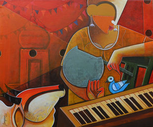 untitled by anupam pal, Decorative Painting, Acrylic on Canvas, Brown color