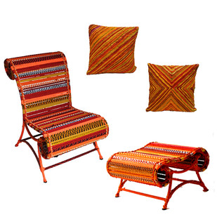 Athena Chair & Pouf with cushion set In Orange Color Furniture By Sahil & Sarthak