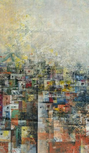 The Village houses by M Singh, Geometrical Painting, Acrylic on Canvas, Beige color