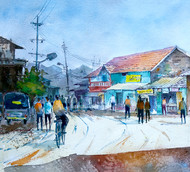 street by Kiran sherkhane , Impressionism Painting, Watercolor on Paper, Cyan color