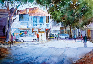 channpet road old hubli by Kiran sherkhane , Impressionism Painting, Watercolor on Paper, Cyan color