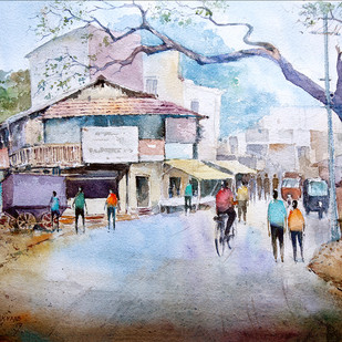 hubli street by Kiran sherkhane , Impressionism Painting, Watercolor on Paper, Brown color