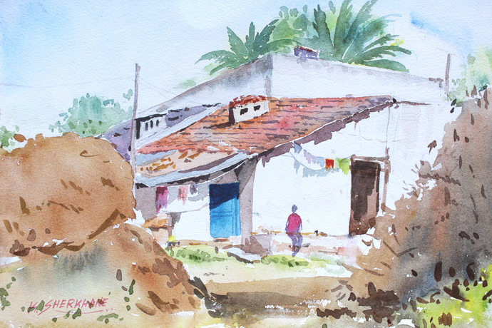 village house by Kiran sherkhane , Impressionism Painting, Watercolor on Paper, Cyan color