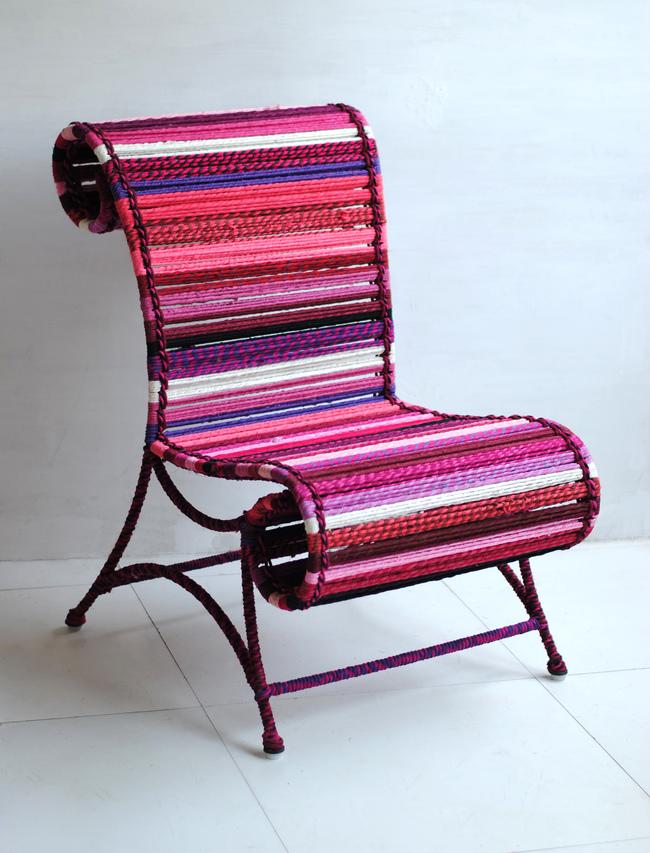 Athena Chair - In Fuchsia Furniture By Sahil & Sarthak
