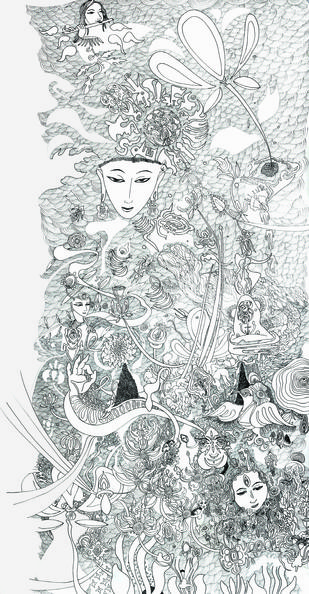 Untitled by PETER MAKELA, Illustration Painting, Pen & Ink on Paper, Gray color