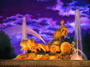 CIBELES by DAVID ANGENJO, Realism Painting, Oil on Canvas, Brown color