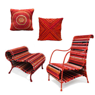 Love Chair & Little Bo Peep Pouf with Cushion Set In Red Gatsby by Sahil & Sarthak, Contemporary Furniture, Fabric Katran, White color