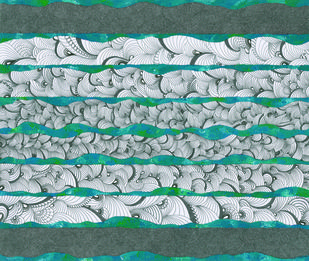READ BETWEEN THE LINES #2 by MANDIRA RAVINDRANATH, Abstract Painting, Acrylic & Ink on Paper, Green color