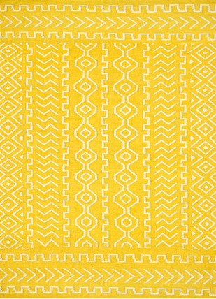 5X8 Flat Weave Wool Rugs by Jaipur Rugs, Contemporary Carpet and Rug, Wool, Yellow color