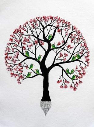 Komal Vriksh by Sumit Mehndiratta, Art Deco Painting, Acrylic & Ink on Paper, Gray color