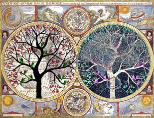 Rangavrit by Sumit Mehndiratta, Decorative Digital Art, Digital Print on Canvas, Brown color