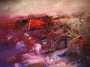 PURPLE DAWN by Viswam, Abstract Painting, Oil on Canvas, Brown color