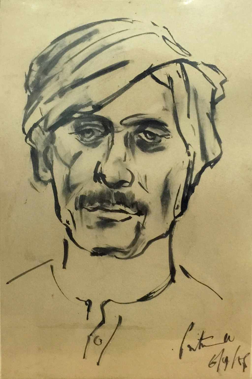 FACE - 2 by C S N Patnaik, Illustration Painting, Watercolor on Paper, Beige color