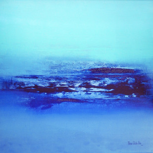 Seascape by Poonam Rana, Abstract Painting, Acrylic on Canvas, Cyan color
