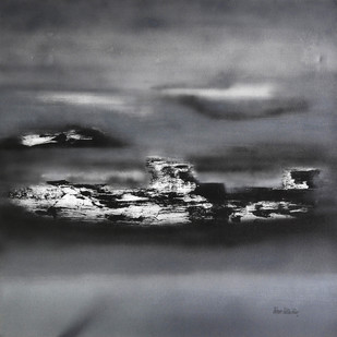 Horizon by Poonam Rana, Abstract Painting, Acrylic on Canvas, Gray color