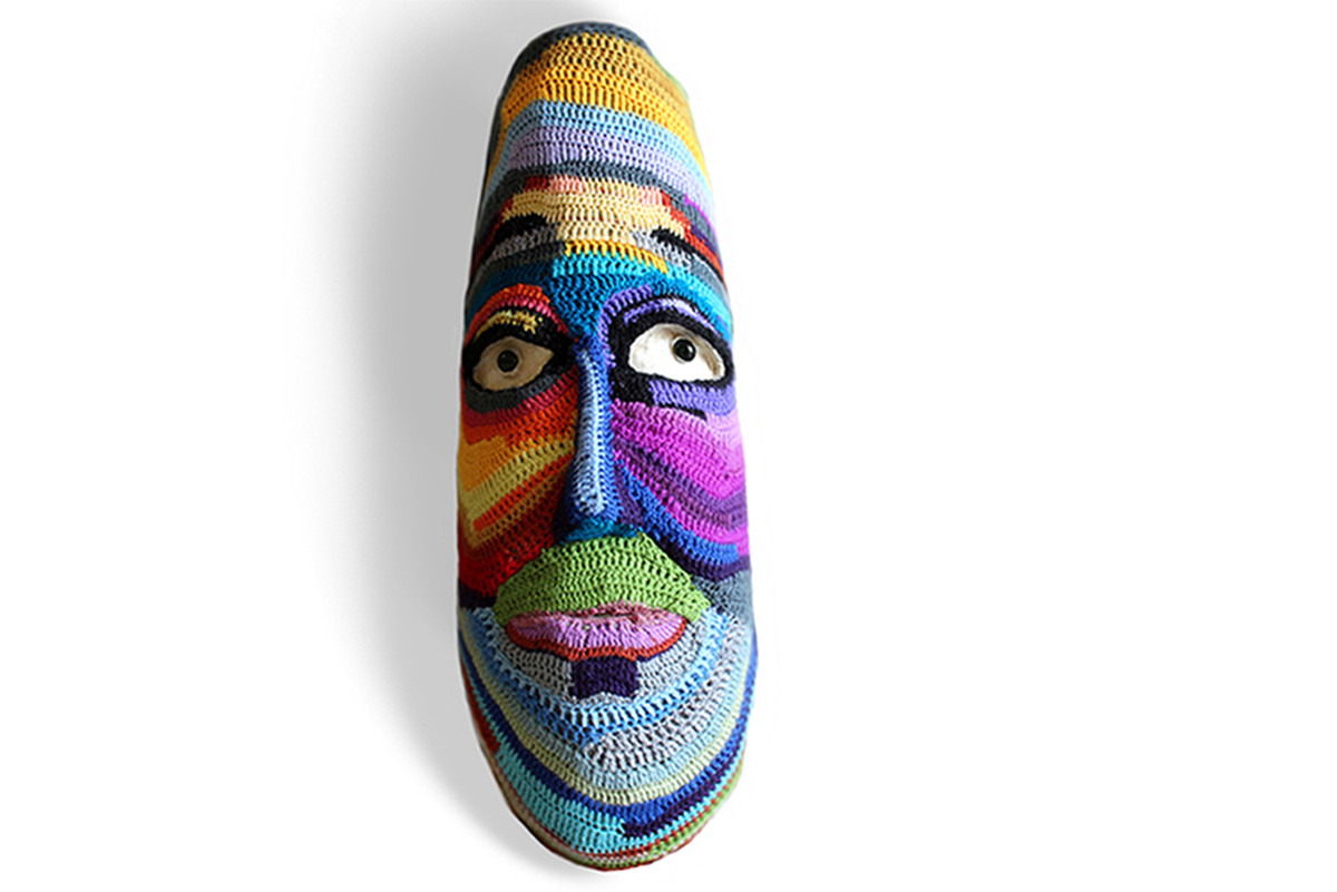 MASK-02 by Archana Rajguru, Art Deco Sculpture | 3D, Mixed Media, White color