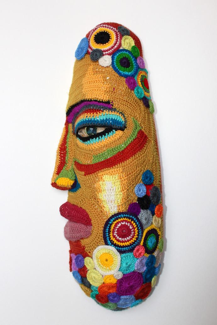 MASK-12 by Archana Rajguru, Art Deco Sculpture | 3D, Mixed Media, Gray color