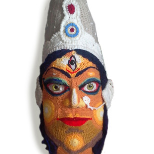 DURGA by Archana Rajguru, Art Deco Sculpture | 3D, Mixed Media, White color