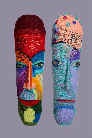 COUPLE-04 by Archana Rajguru, Art Deco Sculpture | 3D, Mixed Media, Brown color