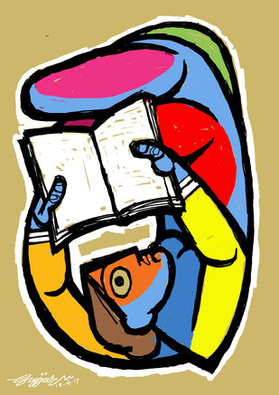 reading by Gujjarappa B G, Digital Digital Art, Digital Print on Canvas, Beige color