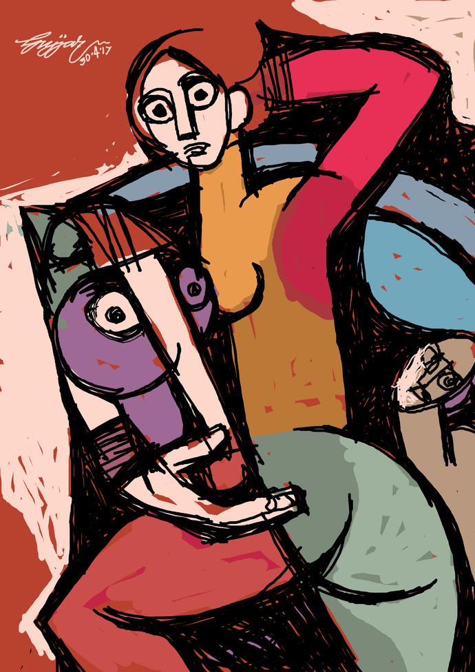 pet by Gujjarappa B G, Digital Digital Art, Digital Print on Canvas, Brown color