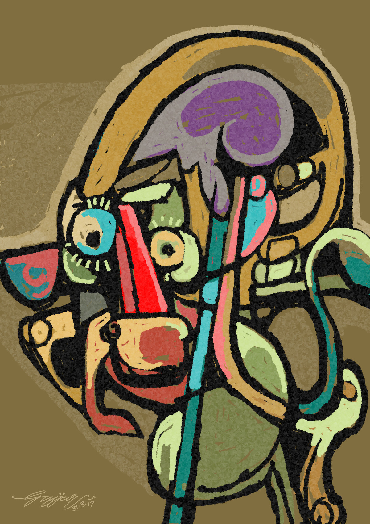 untitled by Gujjarappa B G, Digital Digital Art, Digital Print on Canvas, Brown color