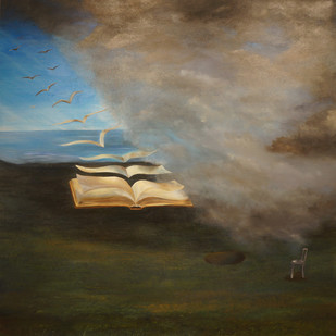 OPEN PAGES by Manu Singh, Fantasy Painting, Oil on Canvas, Brown color