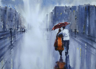 June by Sunil Linus De, Impressionism Painting, Watercolor on Paper, Blue color