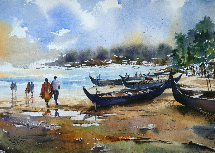 Beach by Sunil Linus De, Impressionism Painting, Watercolor on Paper, Cyan color