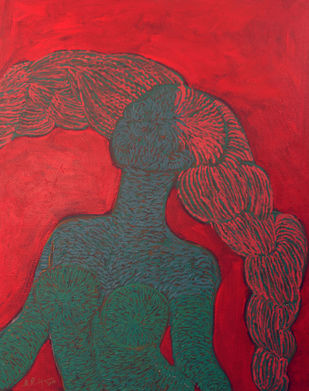 Blue Lady by M.Ramalingam, Expressionism Painting, Acrylic on Canvas, Brown color