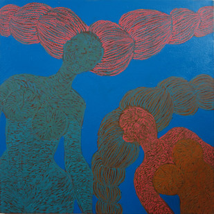 .Blue and Orange Ladies by M.Ramalingam, Expressionism Painting, Acrylic on Canvas, Blue color