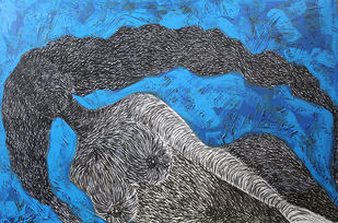 Beautiful Hairs in Blue by M.Ramalingam, Expressionism Painting, Acrylic & Ink on Canvas, Blue color